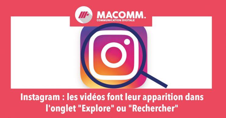"""Vidéos disponible sur Instagram via l'ongler """"Rechercher"""""""