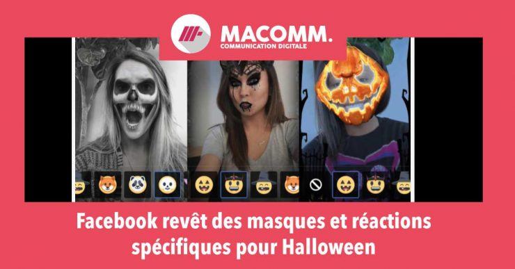 masques d'Hallowen Facebook capture écran