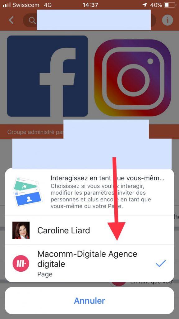 Publier en tant que page dans les groupes facebook