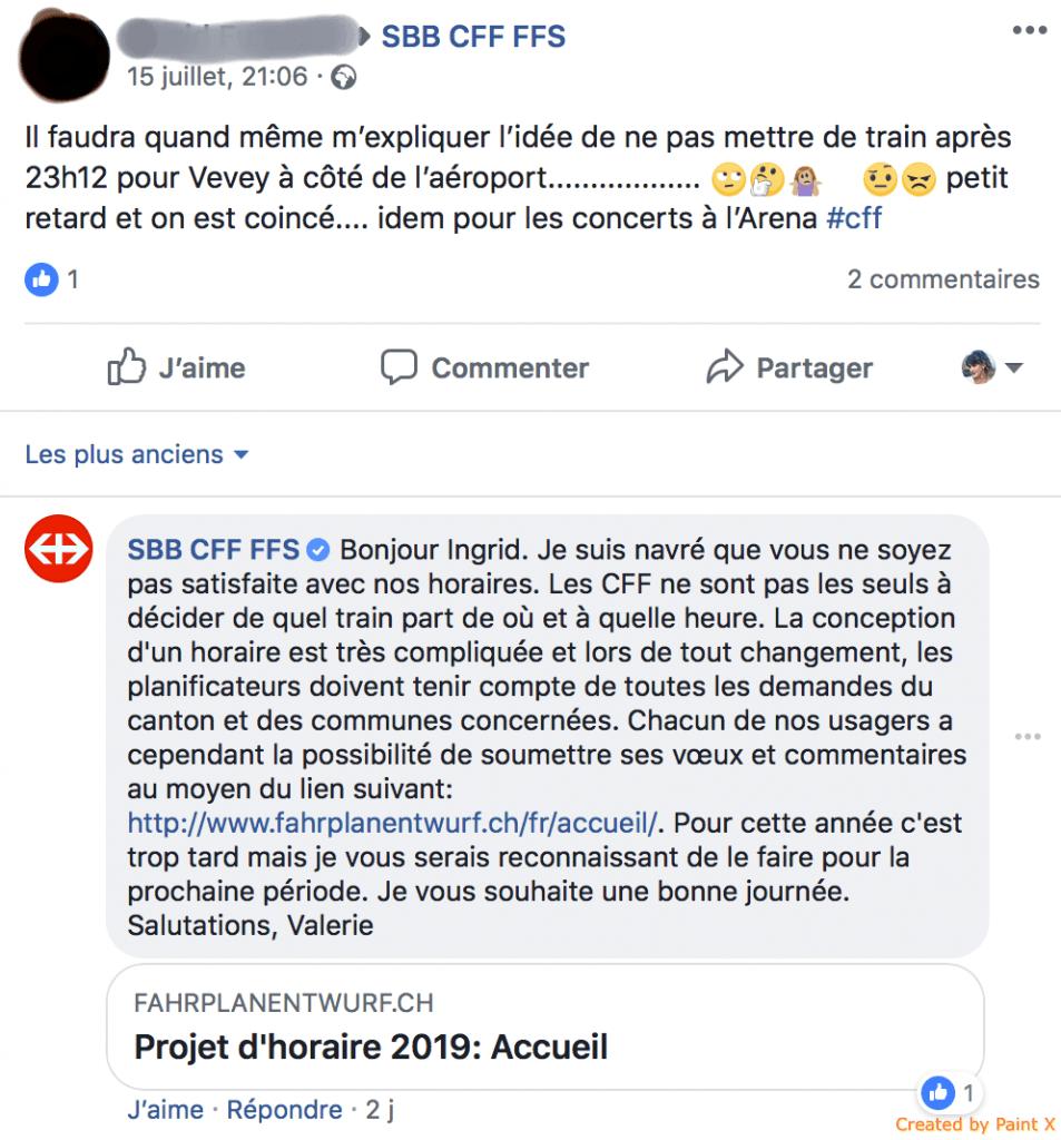 Réponse plainte CFF