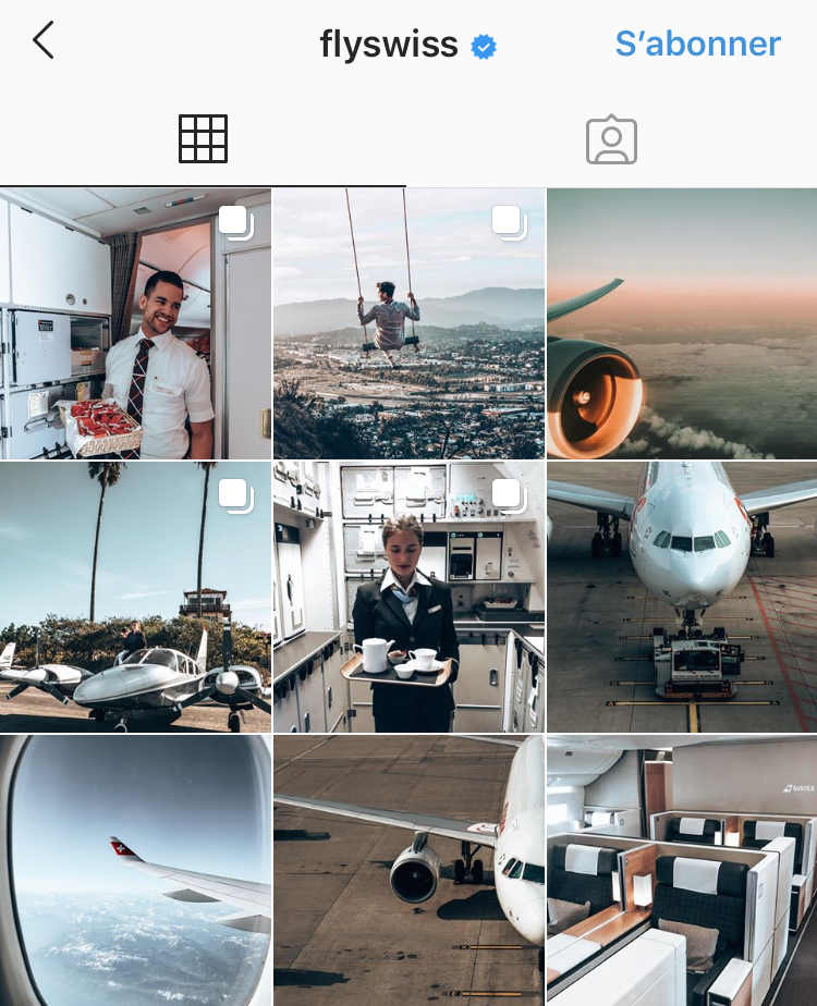 Compte Instagram Swiss airlines